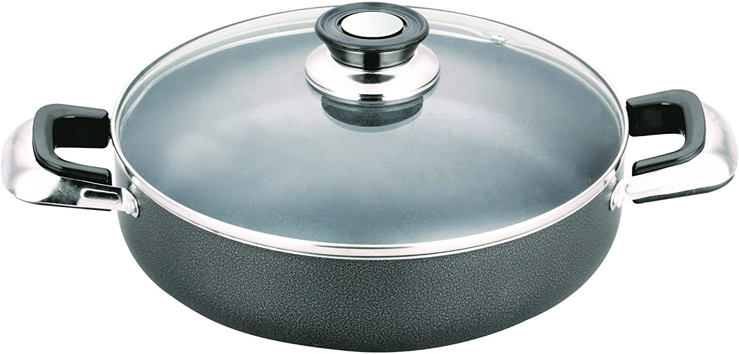 All American Collection Low Pot Non-stick Coating with Glass Lid Cover (12 Inch)