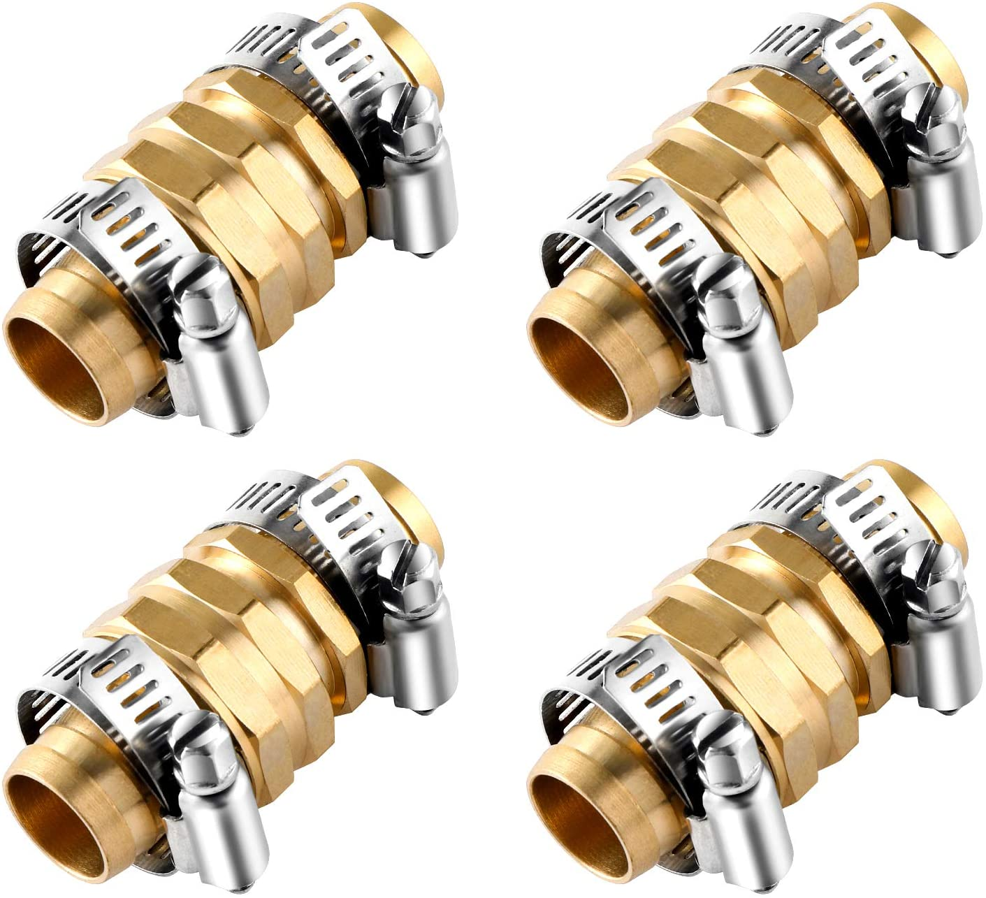 abcGoodefg 4 Sets Brass Garden Hose Mender Female and Male Hose Connector 3/4 Hose Fittings Garden Copper Joint Hose Adapter Water Hose End Replacement Repair Kit with Stainless Steel Clamp