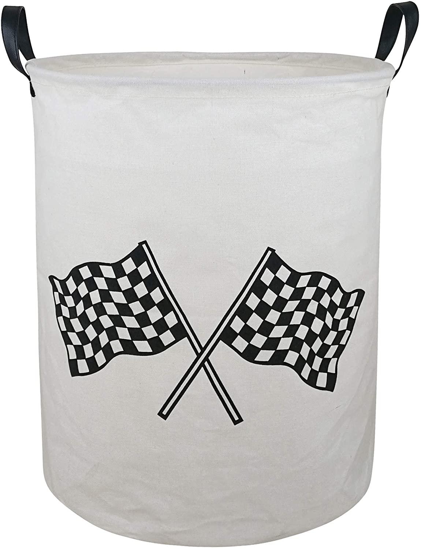 KUNRO Large Sized Round Storage Basket Waterproof Coating Organizer Bin Laundry Hamper for Nursery Clothes Toys (Racing Flag)