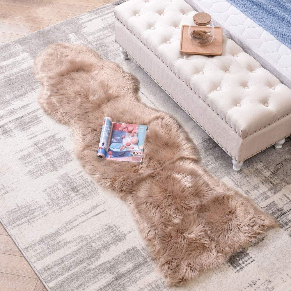 LEEVAN Sheepskin Rug Faux Fur Rug Super Soft Fluffy Chair Cover Seat Shaggy Single Pelt Floor Mat Carpet Accent Home Decor (Coffee, 2' x 6')