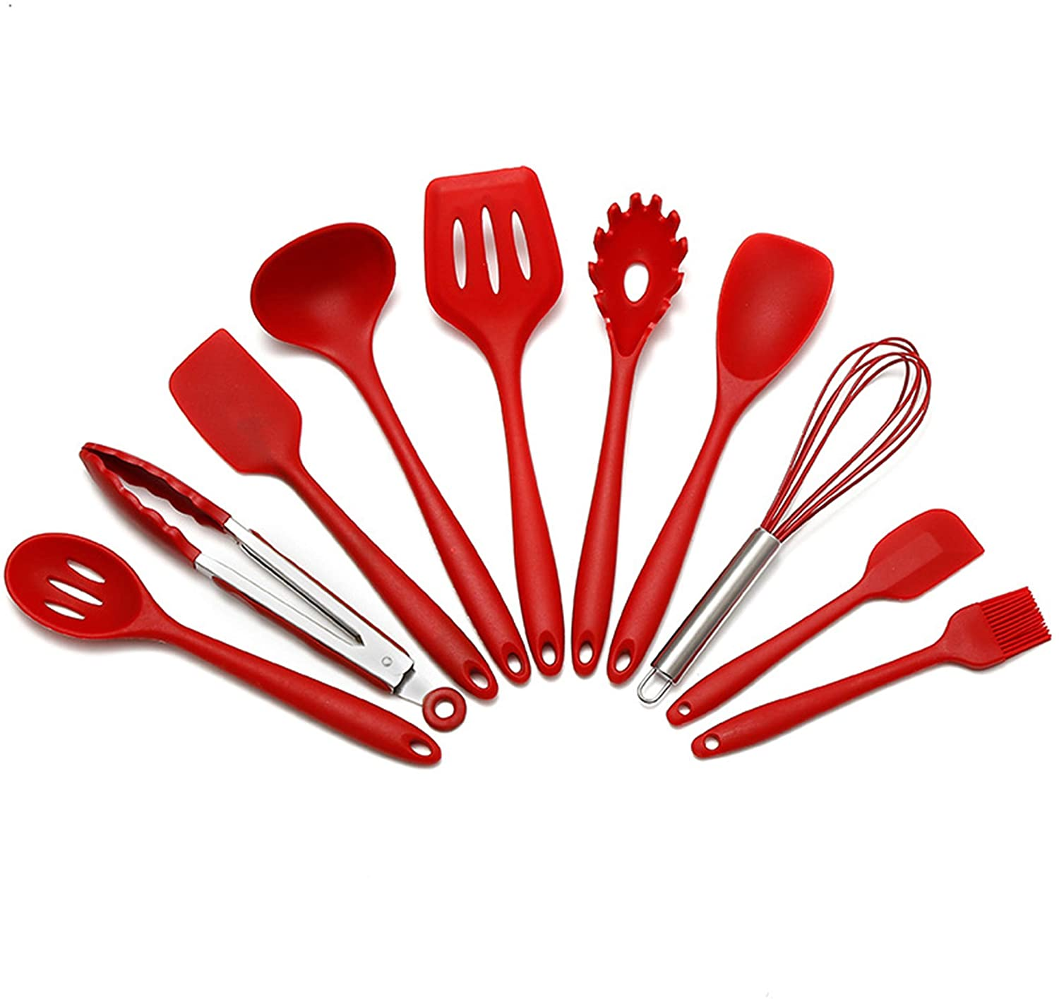 PDJW 10PCS Silicone Cooking Kitchen Utensils Set — Silicone Spatula set BPA Free Non Toxic—Turner Tongs Spatula Spoon Kitchen Gadgets Set for Nonstick Heat Resistant Cookware (Red)