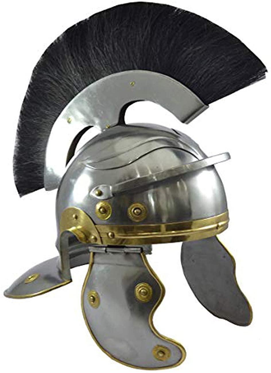 AnNafi Roman Centurion Helmet Armor w/Black Plume | Medieval Metal Replica Helm | Soldier Costume Gladiator
