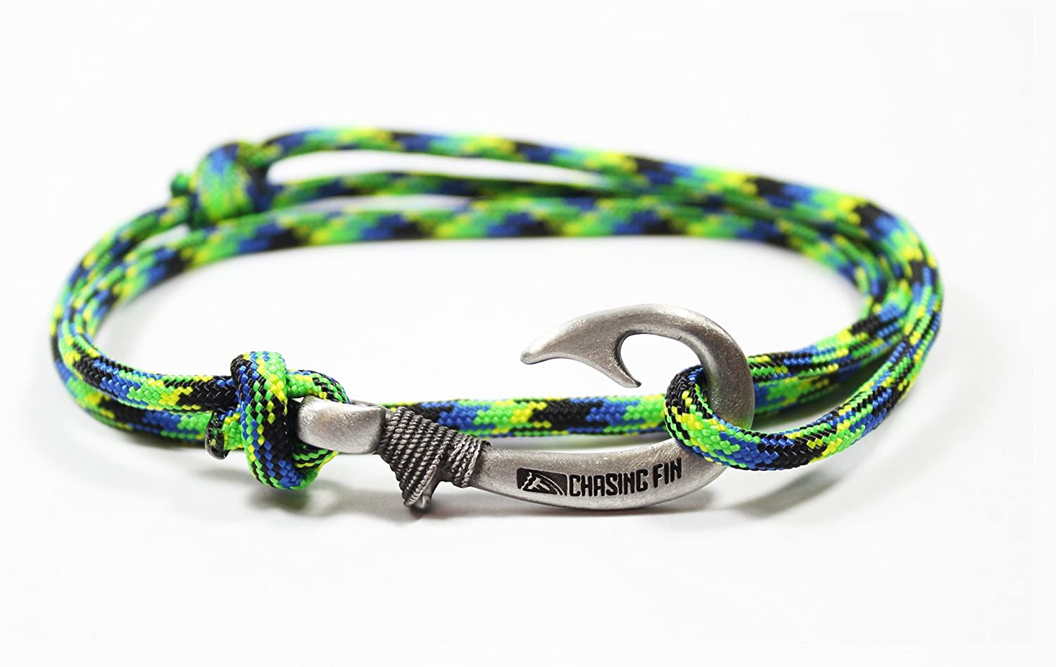 Chasing Fin Adjustable Fish Hook Bracelet - 550 Military Paracord with Fish Hook Pendant - Also Worn as Necklace or Ankle Bracelet