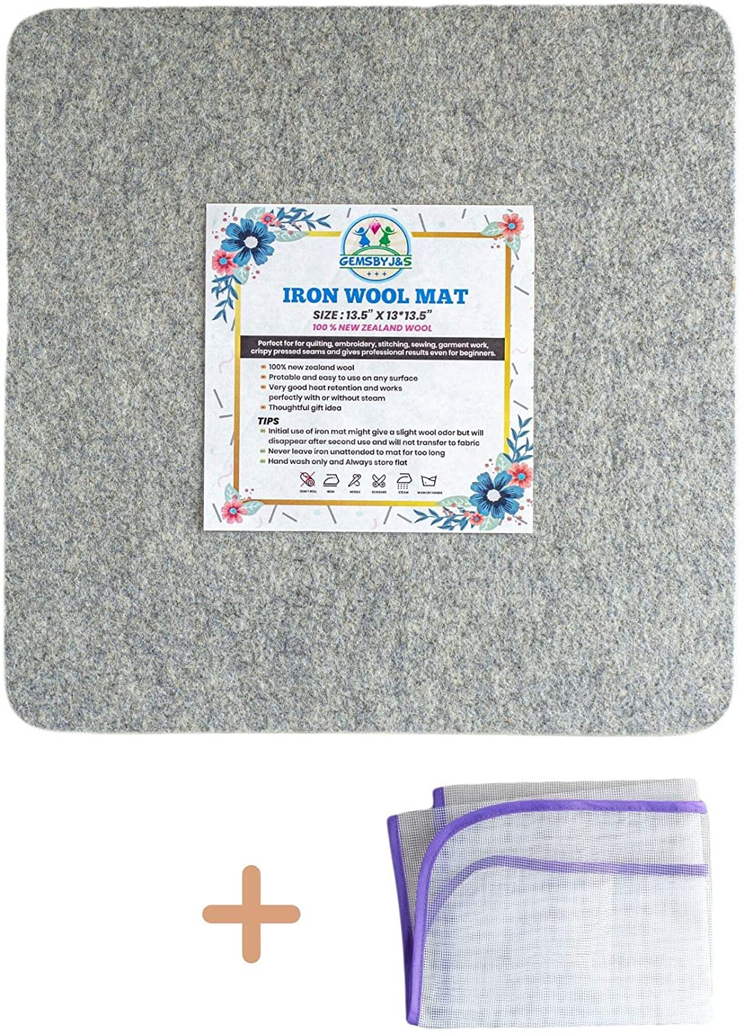 """Wool Pressing Mat Ironing Pad - 100% New Zealand Wool Iron Mat for Quilting Sewing, Cutting and Pressing with Protective Ironing Cloth   13.5""""x 13.5"""""""