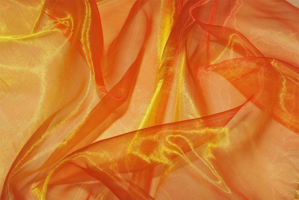 "mds Pack of 5 Yard Bridal Solid Sheer Organza Fabric Bolt for Wedding Dress,Fashion, Crafts, Decorations Silky Shiny Organza 44""- Orange"