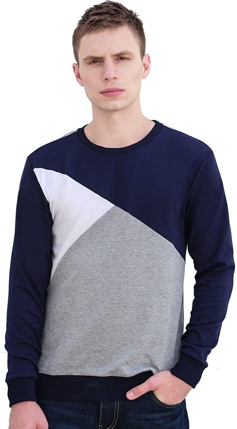 uxcell Men Basic Lightweight Crewneck Pullover Casual Sweatshirt T-Shirt