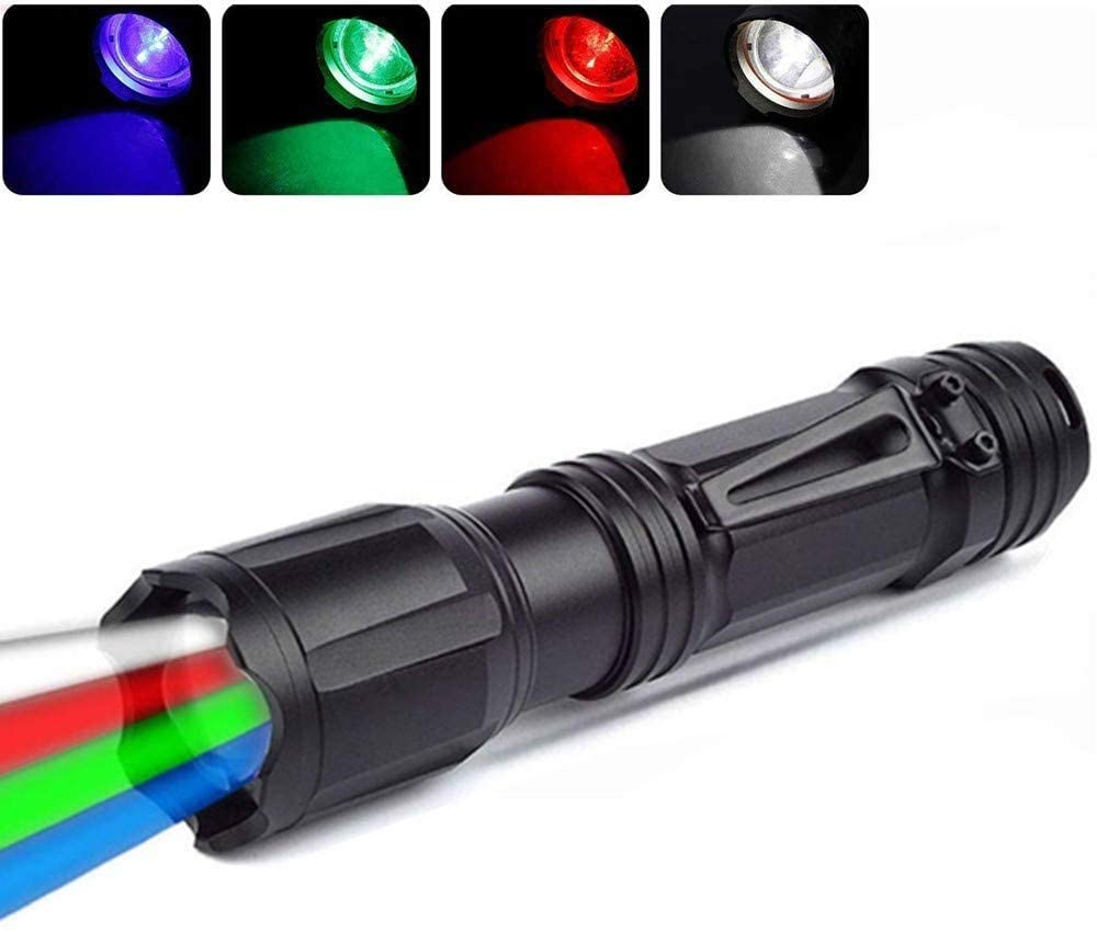 WINDFIRE Multi-Color LED Tactical Flashlight, 200 Lumens Rechargeable 4 Color in 1 Zoomable Hunting Torch with Red Green Blue White Light, Multi-Functional Flashlight for Outdoor Activities