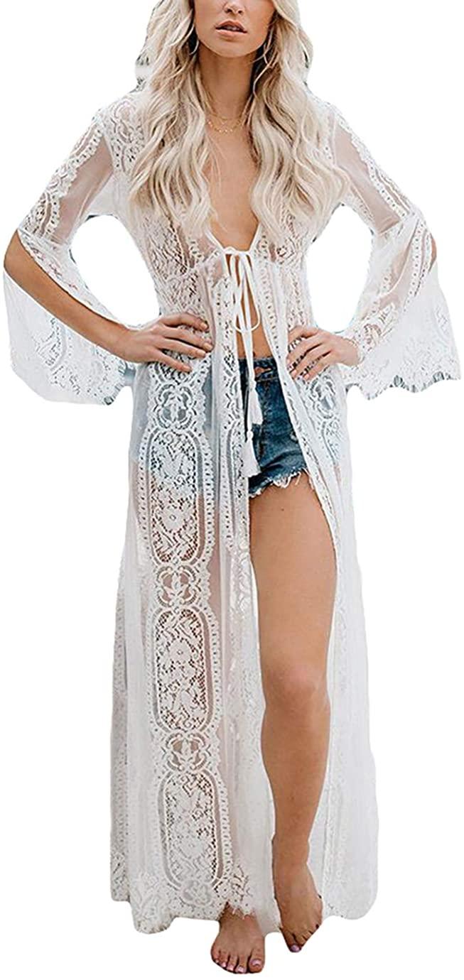 Eddoyee Women's Sexy Lace/Mesh Bikini Cover Ups Beach Open Front Kimono Cardigan