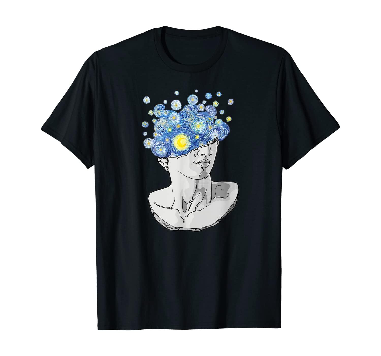Van Gogh Starry Night Aesthetic David Greek Statue Art T-Shirt