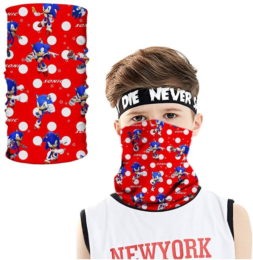 Reid. store Kids Sonic Face Mask Bandana Neck Gaiter Cooling Breathable Balaclava Scarf Dust UV Protection for Boys Girls