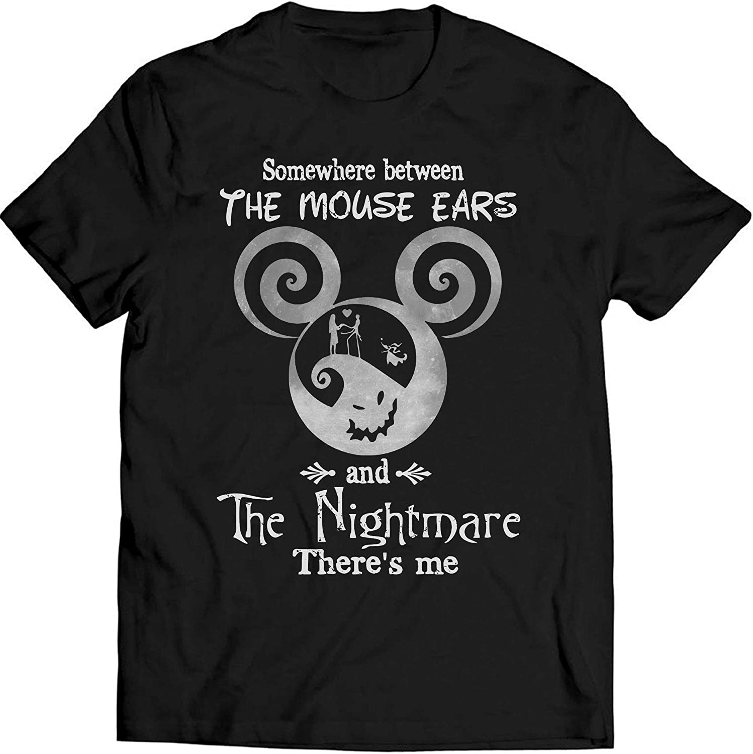 Somewhere Between The Mouse Ears T Shirt Jack Skellington Lovers Mickey Lovers Shirt Nightmare Before Christmas