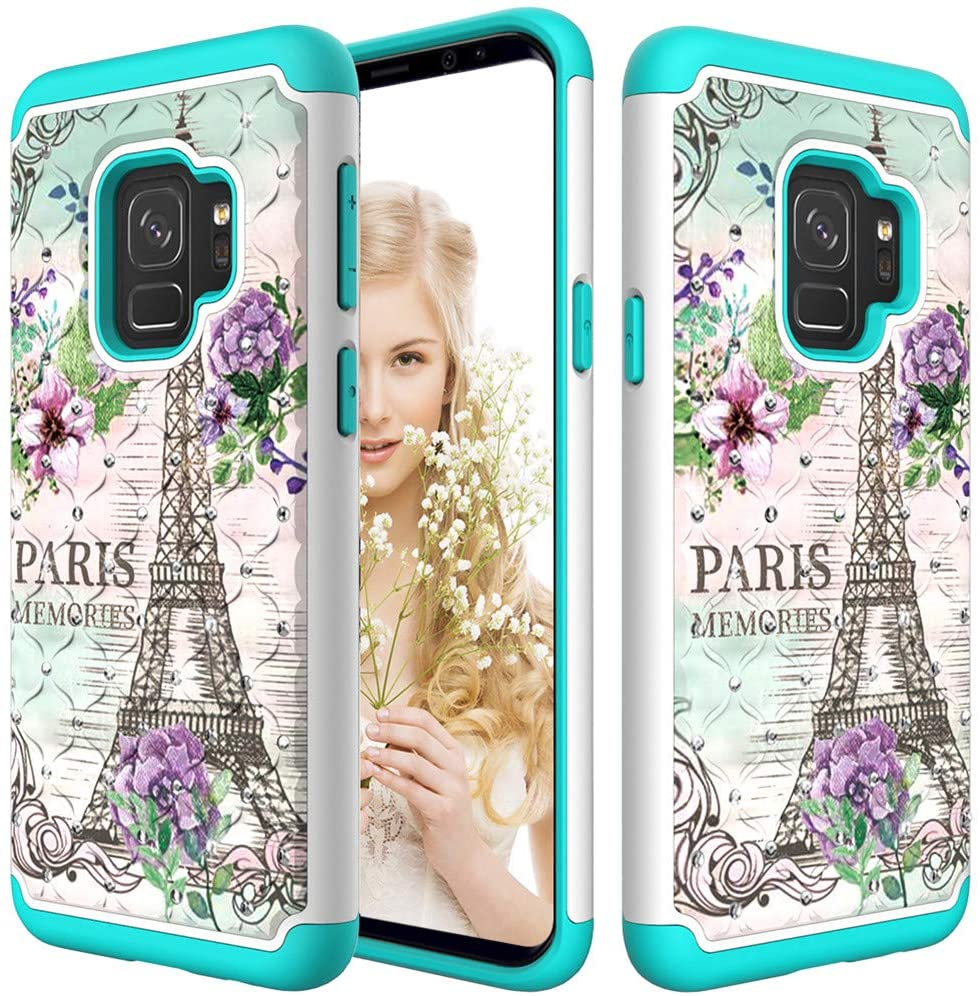 MRSTERUS Case for Galaxy S9 Tough Double-Layer 2-in-1 Rubber Mixed Hard PC Soft TPU Color Drawing with Glitter Diamond Shock-Resistant Hard Plastic for Galaxy S9 Romantic Tower YBC