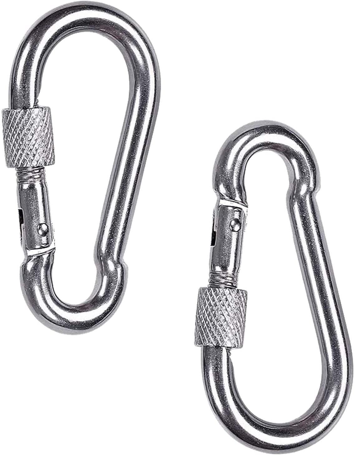 Spring Snap Hook Carabiner, Metown 304 Stainless Steel Carabiner Clips Keychain Heavy Duty Quick Link for Climbing, Swing Set, Keys, Hammock (3.15in-2Pcs)