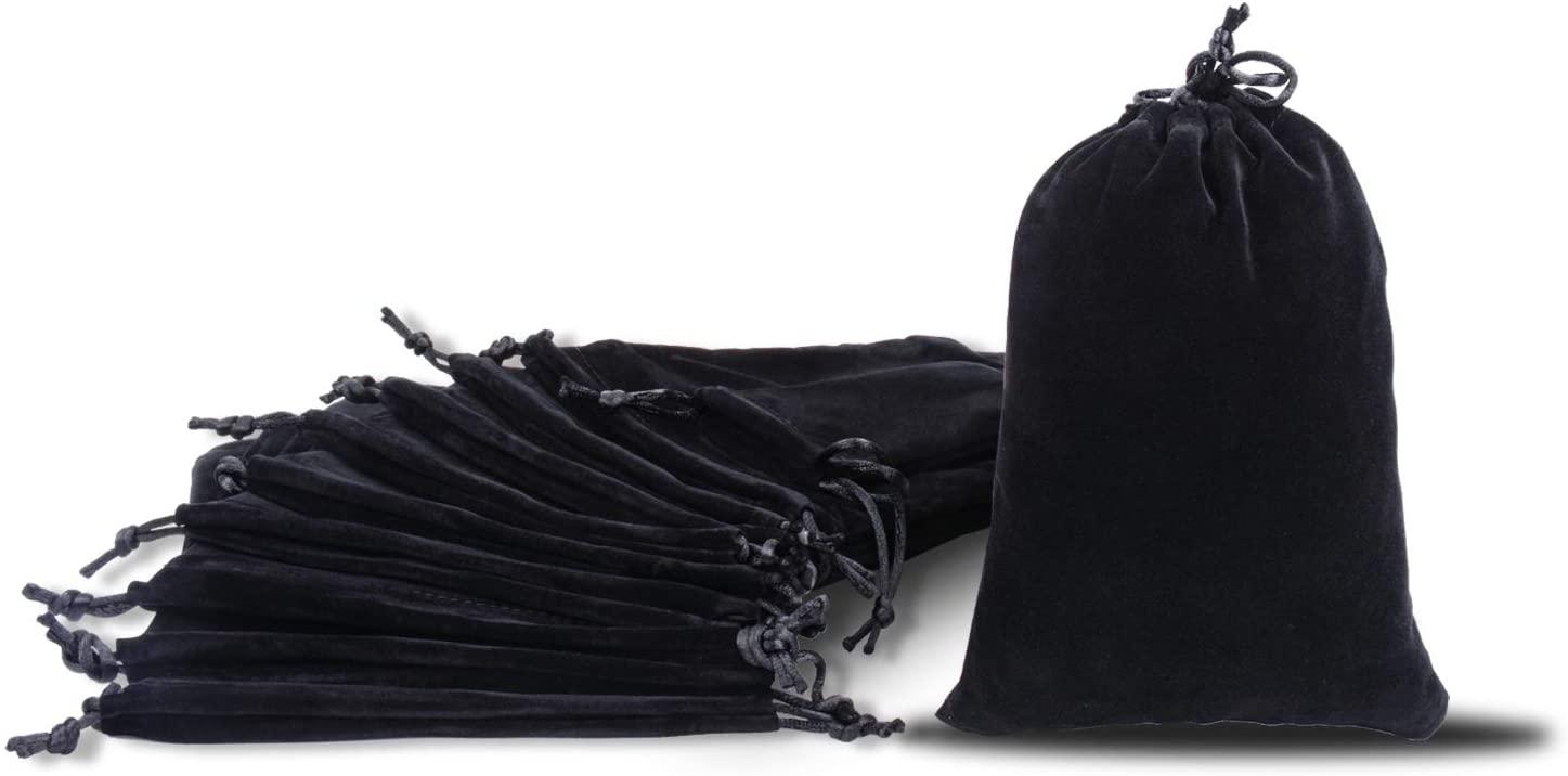 Velvet Drawstring Pouch Jewelry Bag 4.7×5.9inch Pack of 10 Black