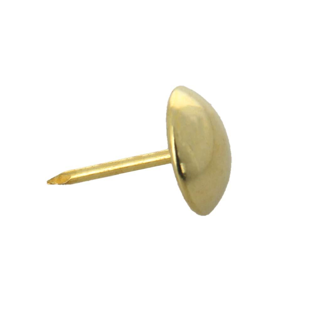 MroMax Upholstery Nails Tacks 12mm Head Dia 17mm Length Antique Round Thumb Push Pins for Furniture Sofa Headboards, Gold Tone 200 Pcs