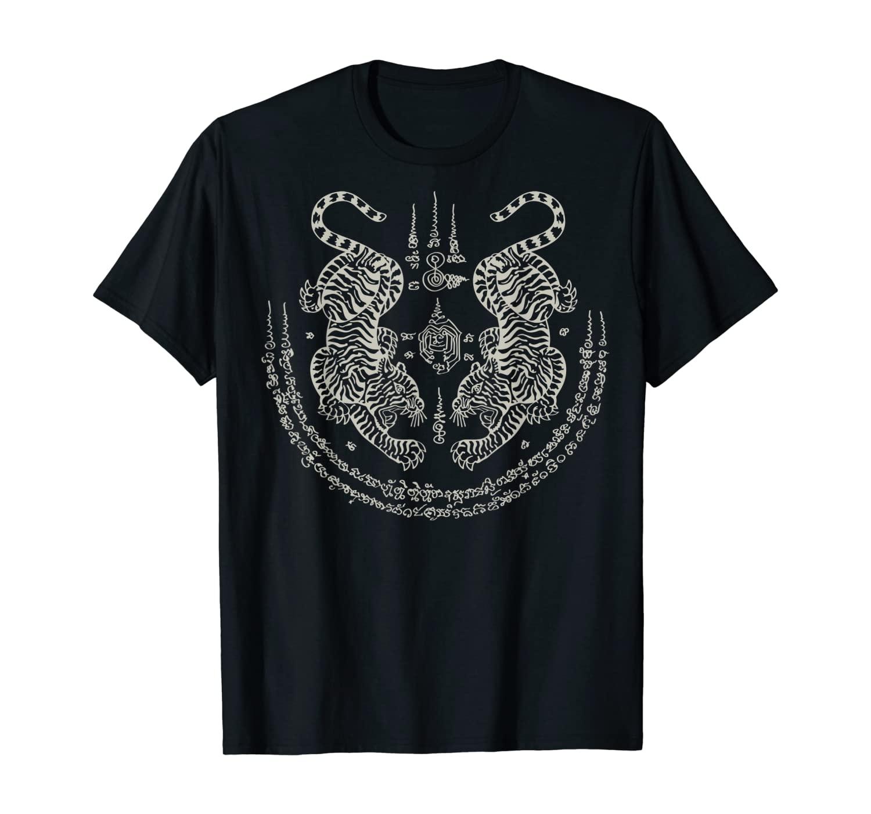 Sak Yant Thai Tattoo Twin Tiger Muay Magical Thailand Gift T-Shirt