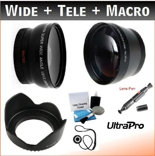58mm Digital Pro Essential Lens Kit with 2x Telephoto, 0.45x HD Wide Angle w/Macro, Flower Tulip Lens Hood for Select Canon Digital Cameras. UltraPro Deluxe Accessory Set Included