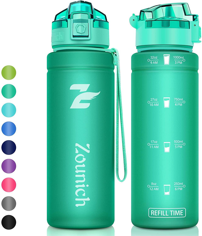 Premium Sports Water Bottle with Time Marker - Kids Water Bottle Leak Proof -40 oz, 32 oz/1 Liter,24 oz, 16 oz Drink Bottle BPA Free Motivational Lockable Lid Portable School Bike Gym Running Cycling