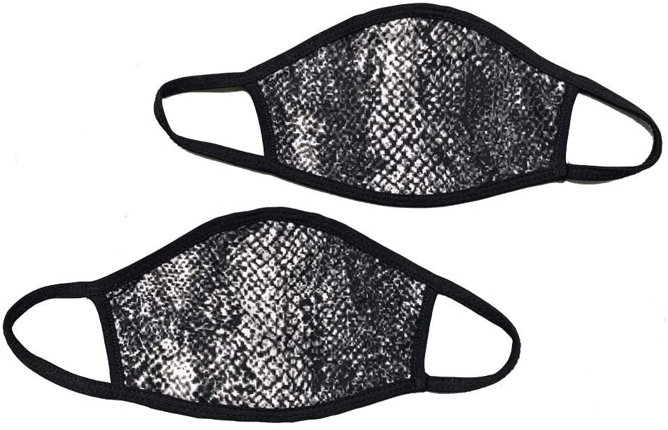 Cotton Fashion Face Masks 2-Pack Adult and Kids Available 2 Layer Breathable Funny Printed Designs (Grey Snakeskin-2pack, Adult)