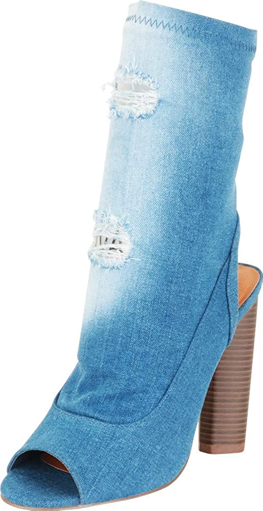 Cambridge Select Women's Open Toe Distressed Denim Chunky Round Cylinder High Heel Ankle Bootie