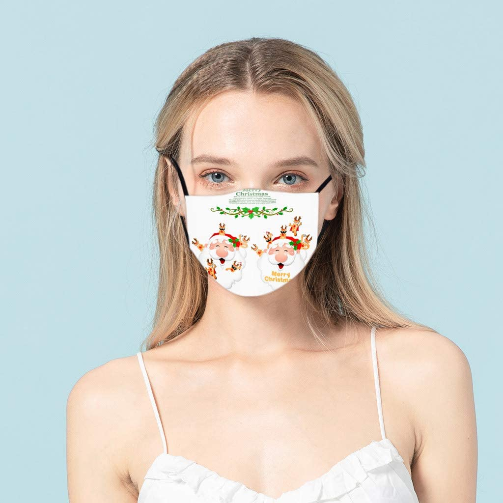 Christmas 1PC Mask Mouth Cover for Women,Face Cover Reusable Washable,Cover Cloth Washable,Face Masks Washable Cloth for Men Kids Reusable Dustproof PM2.5