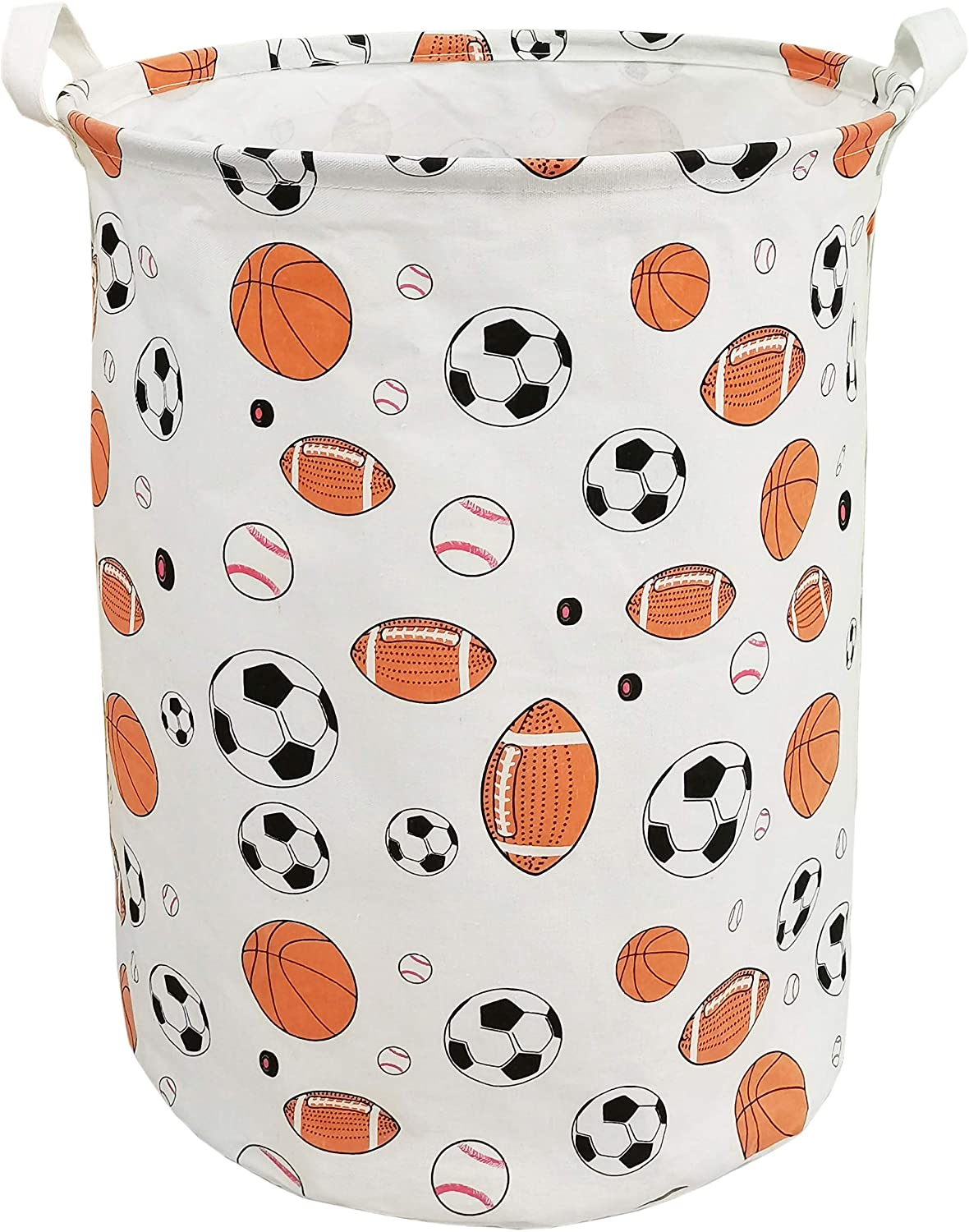 Storage Baskets Waterproof Foldable Organizer Large Storage Bins for Dirty Clothes Home and Office Toy Organizer Laundry Hamper(Foot Basketball)