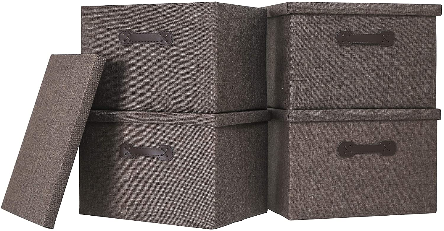 Enzk&Unity Foldable Storage Bins with Lids Linen Fabric Lidded Storage Baskets with Handle Organizer Box for Shelf Nursery Home Bedroom Office Closet, 4 Pack, Brown