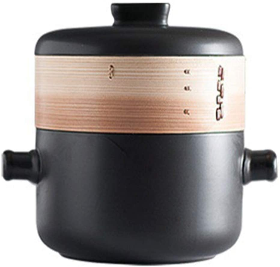 GMING Casserole Cookware Ceramic Cookware Dutch Oven - Durable, Non-stick Pan, Easy To Clean, Cold And Heat Resistant (Color : Black, Size : Capacity 2.5L)