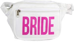 Bachelorette Party Bride Fanny Pack - Includes Bride Temporary Tattoo and Bride Button Bride Squad Phanny Packs - White Bride Fannie Pack with Pink Letters