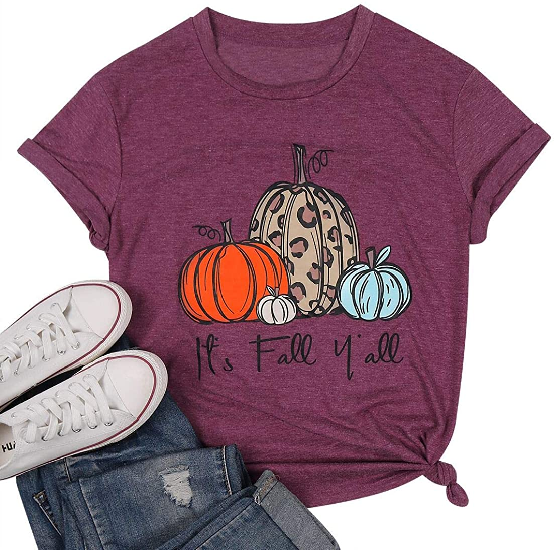 Halloween Pumpkin Shirts Women Cute Plaid Leopard Graphic Tees Thanksgiving Casual Fall Top Tees