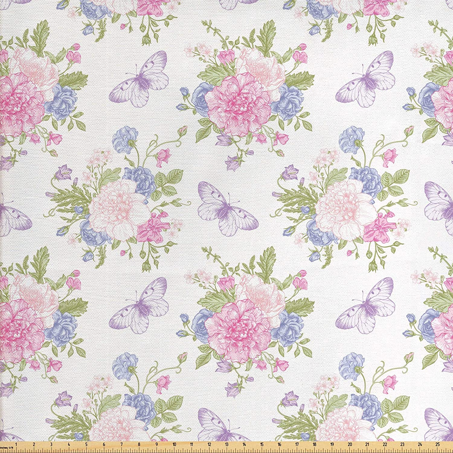 Lunarable Shabby Flora Fabric by The Yard, Flowers Floral Design with Buds and Butterflies Ivy Swirl Art, Decorative Fabric for Upholstery and Home Accents, 3 Yards, Pink Purple