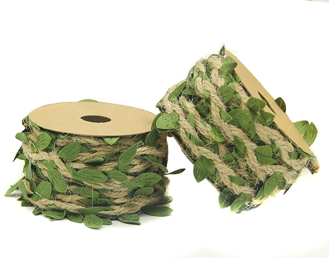 Fodattm 2 Rolls 4ply Creative Burlap Leaf Ribbon Durable String Braided Decorated Vine Natural Jute Twine with Artificial Green Leaves for Gift Wrapping Gardening Applications Art & Crafting