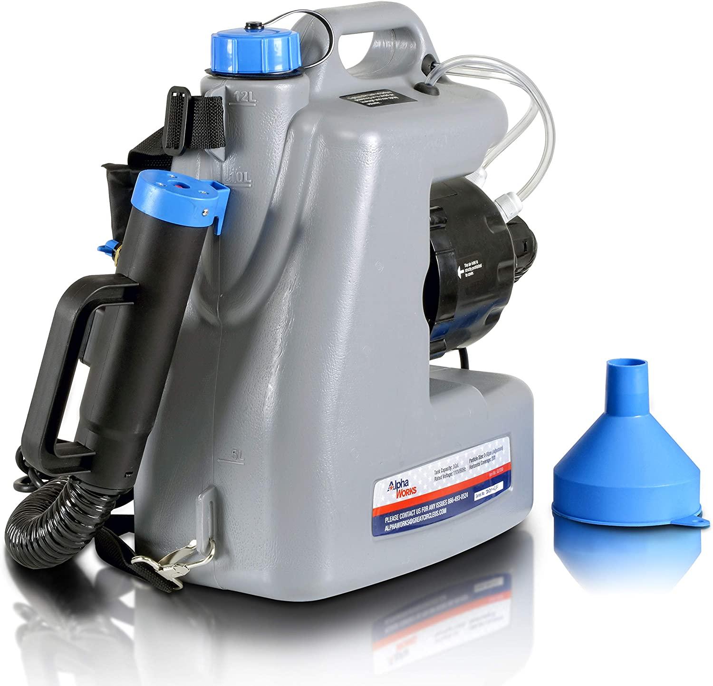 AlphaWorks Fogger Machine Disinfectant Improved Fogger Atomizer Back Pack Mist Duster ULV Sprayer 3GAL Mist Blower Adjustable Particle Size 0-50μm/Mm