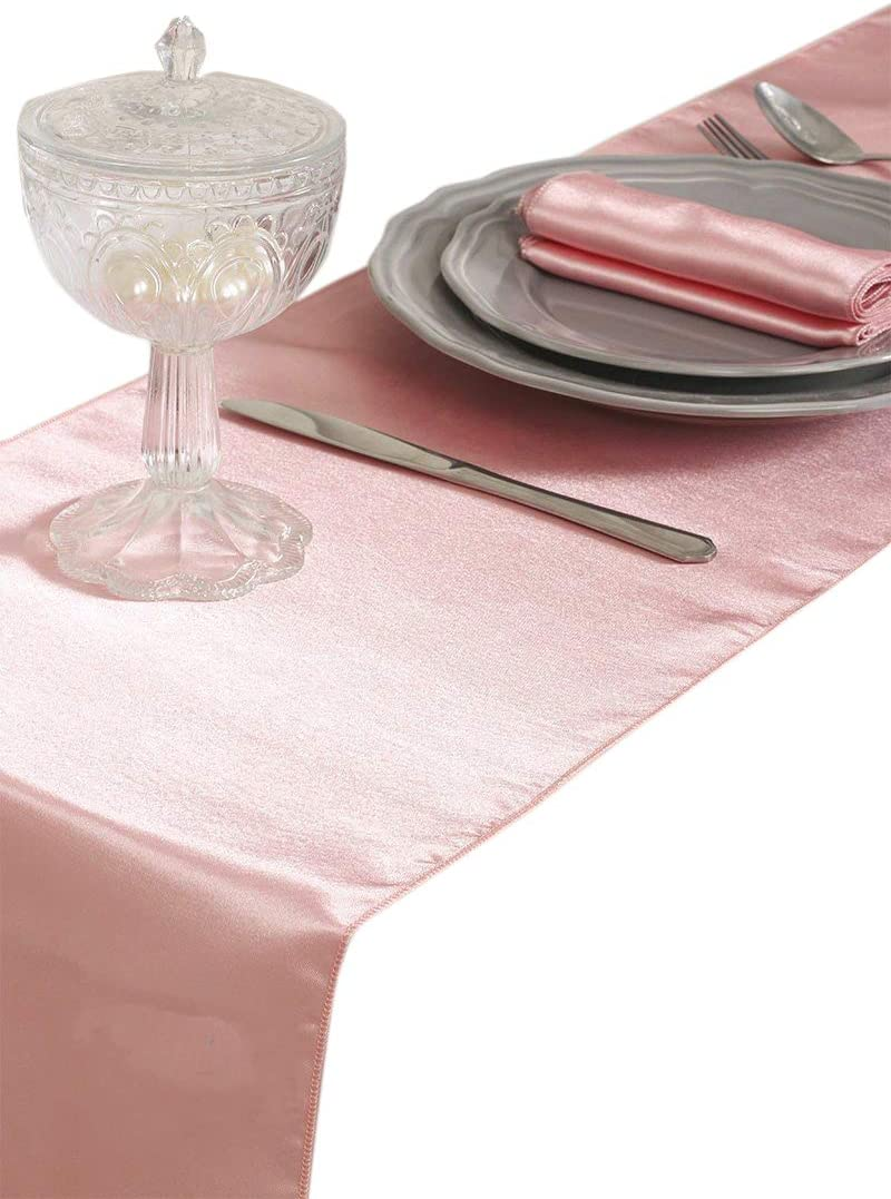 mds Pack of 25 Wedding 12 x 108 inch Satin Table Runner for Wedding Banquet Decoration- Blush Pink
