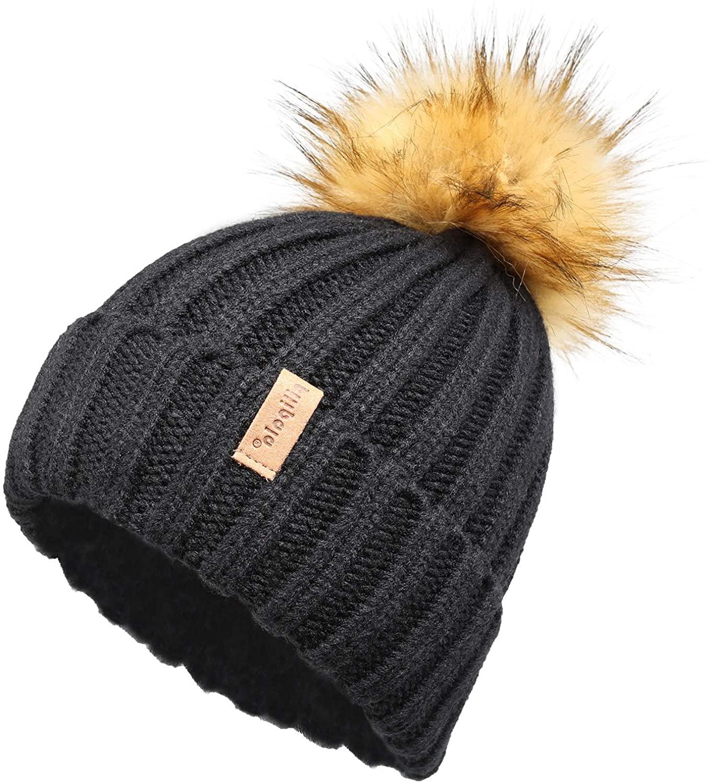 Pilipala Women Knit Beanie Hat with Fur Pompom Winter hat for Women Ski Cap