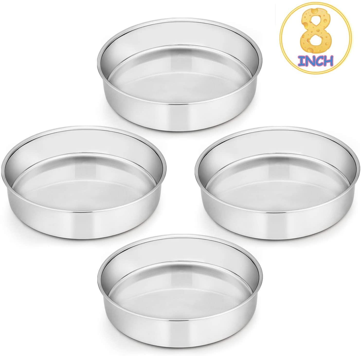 8 Inch Cake Pan Set of 4, E-far Stainless Steel Round Layer Cake Baking Pans, Non-Toxic & Healthy, Mirror Finish & Dishwasher Safe