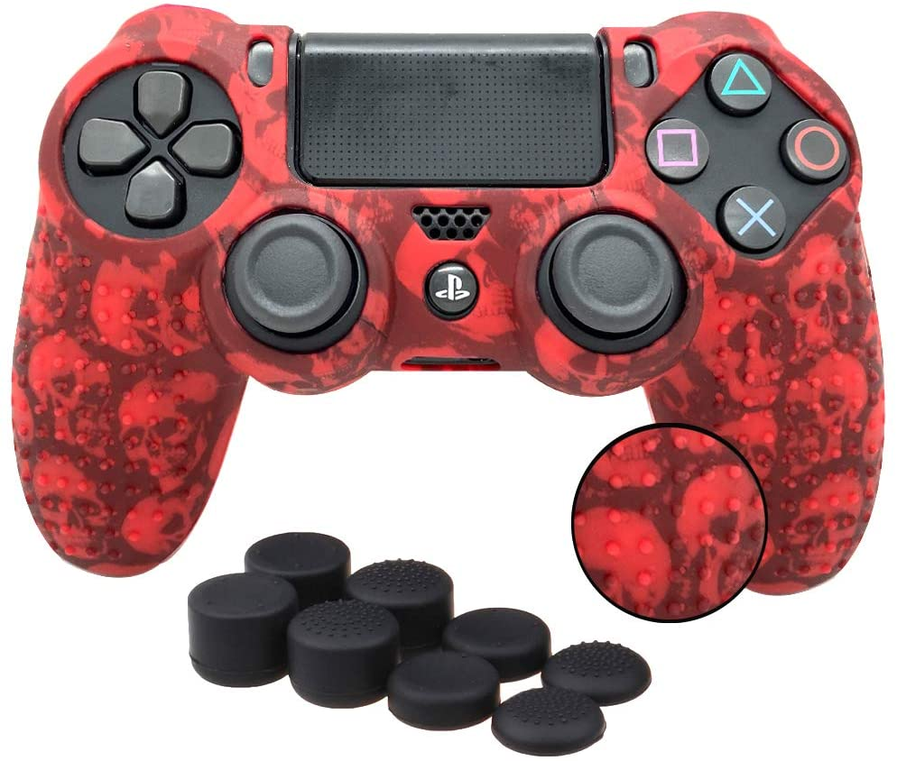Antil-Slip Silicone Controller Cover Protective Case for PS4/SLIM/PRO Controller Soft Cover Skin for Dualshock 4 Controller with 8 Thumb Grips(Red Skull)