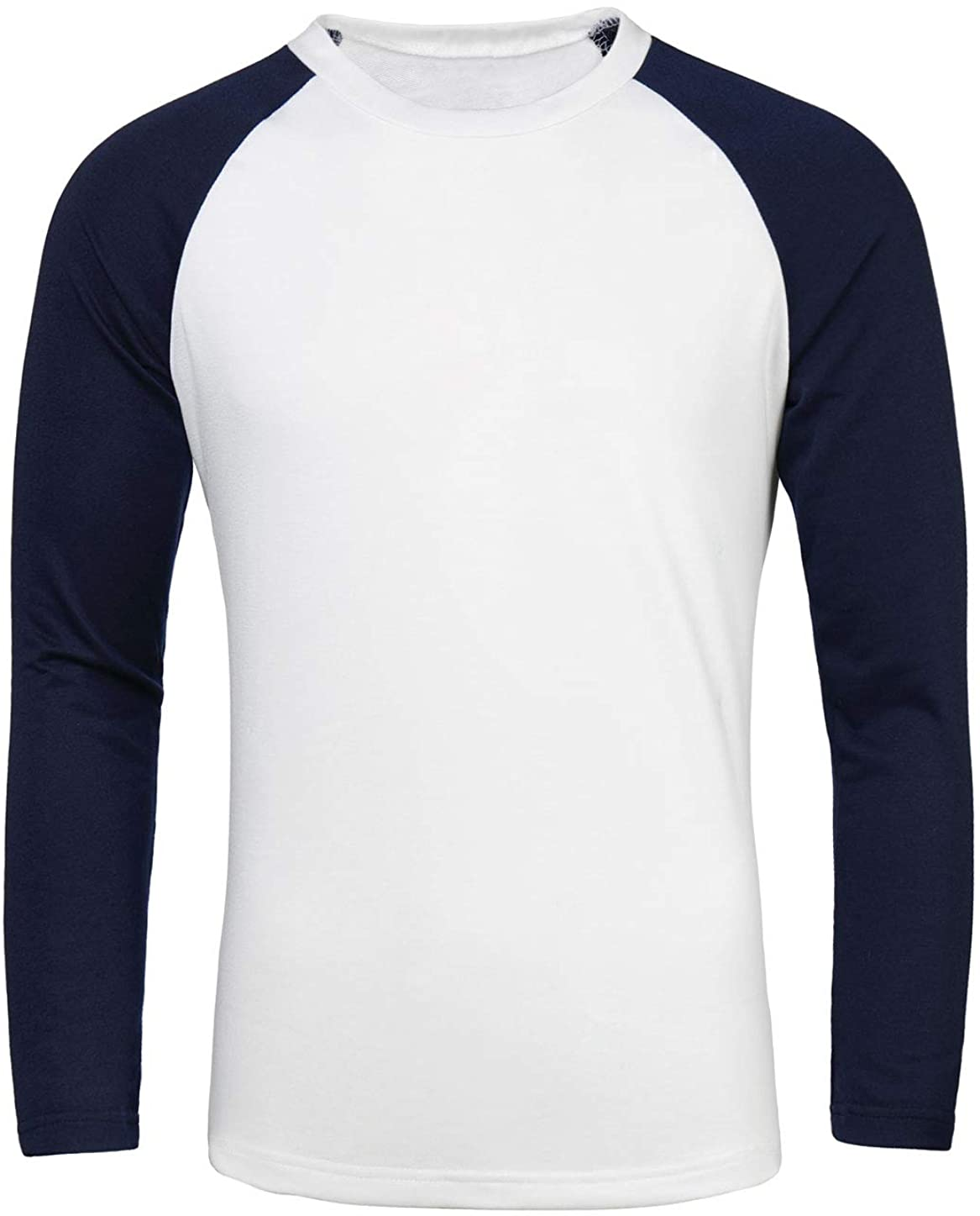 uxcell Men Color Block Crewneck Baseball Raglan Long Sleeves Tee Shirt