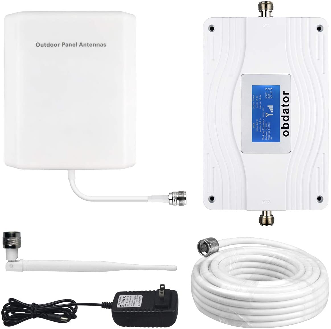 Cell Phone Signal Booster for Home and Office - Boost 4G LTE Data for Verizon AT&T and T-Mobile - obdator High Gain 65dB Dual Band 700MHz Band 12/17/13 Cellular Repeater kit