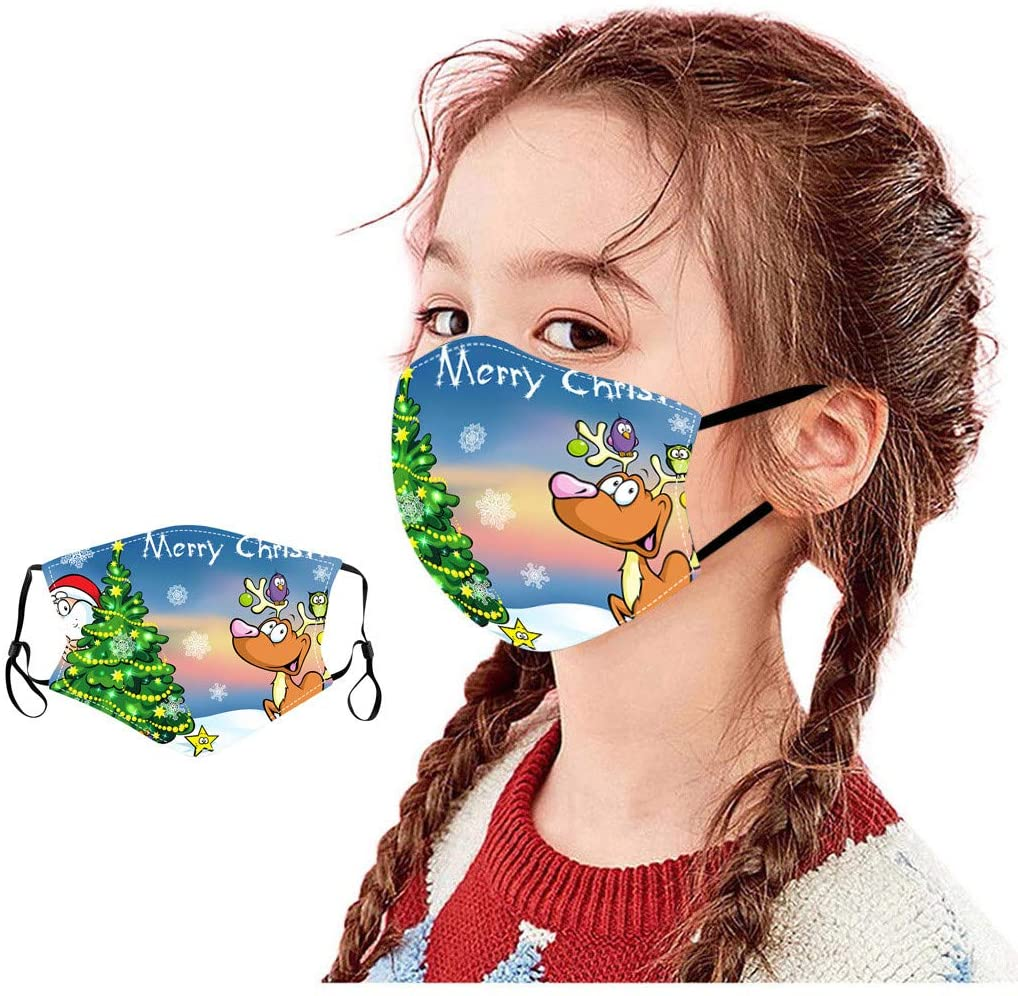Christmas's Day 1PC Children 1pc Mouth Masks for Dust' Protection Anti-Face Mask Washable Earloop Mask