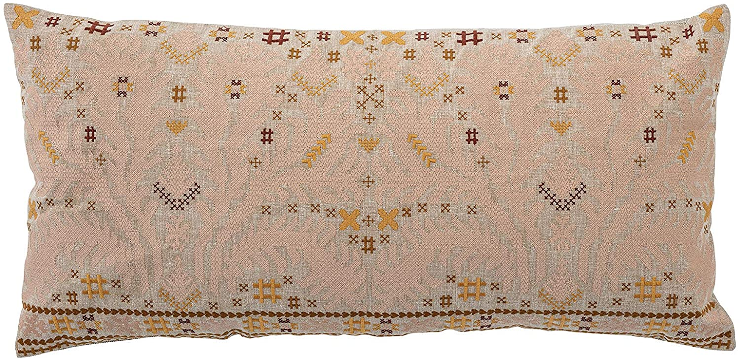 Creative Co-op Lumbar Multi Color Embroidered Cotton Pillow