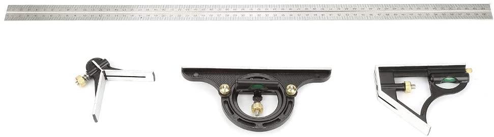 Biunixin Adjustable Combination Square, Metal Right Angle Ruler Engineer Measuring Tool