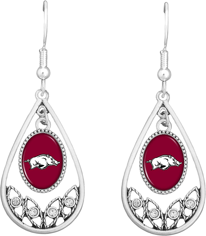 FTH Arkansas Razorbacks Logo Silver Tone Tear Drop Earrings with Rhinestones