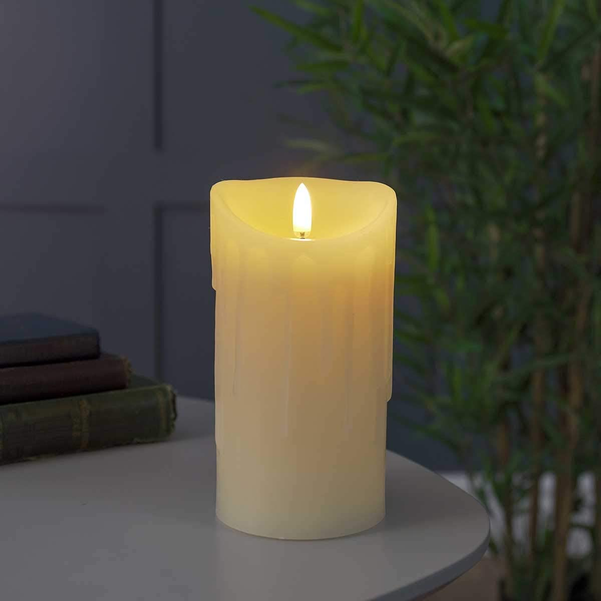 Indoor Dripping Wax Candle - Battery Powered - Authentic Flickering Flame Effect - Ivory - Timer Function (5.7