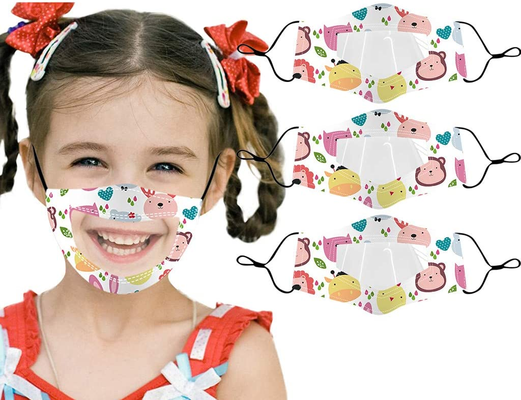 Basysin Funny Printed Bandana Breathable Kids Reusable Children Cycling Cut Fashion Washable Cloth Face_Mask (3PC)