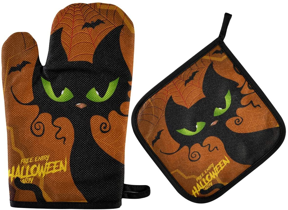 Exnundod Cat Halloween Spider Oven Mitts & Pot Holders 2pcs Kitchen Heat Resistant Non-Slip Potholders Set for Cooking Baking BBQ