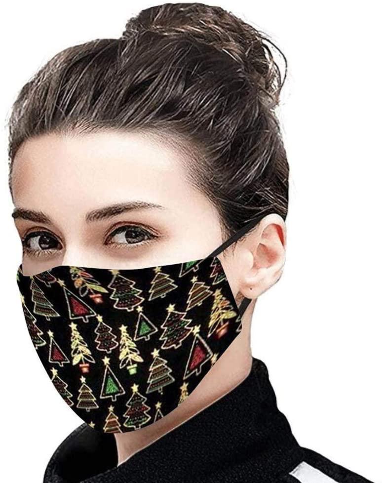Christmas Cartoon_Face_Mask Bnadanas, Fashion Kawaii Christmas Stripe Pattern Protective Face Cotton for Adults Girls Boys, Reusable & Washable Màsc