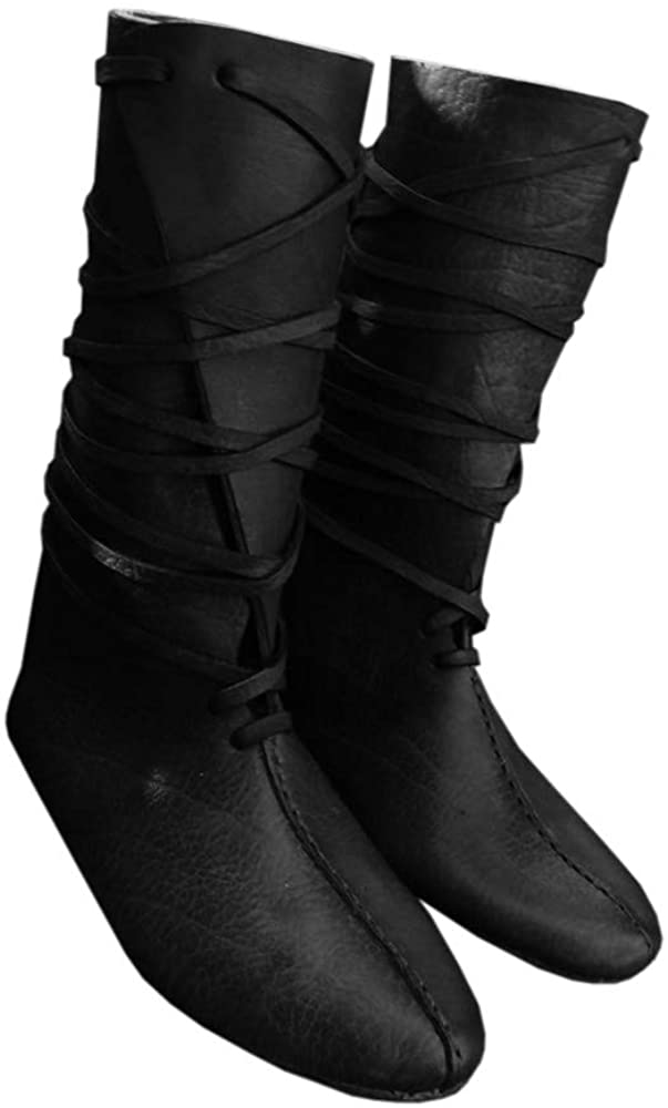 Mens Renaissance Lace Up Loafer Boots Medieval Cosplay Pirate Viking Tied Halloween Shoes Black, Size 13-Fit Small