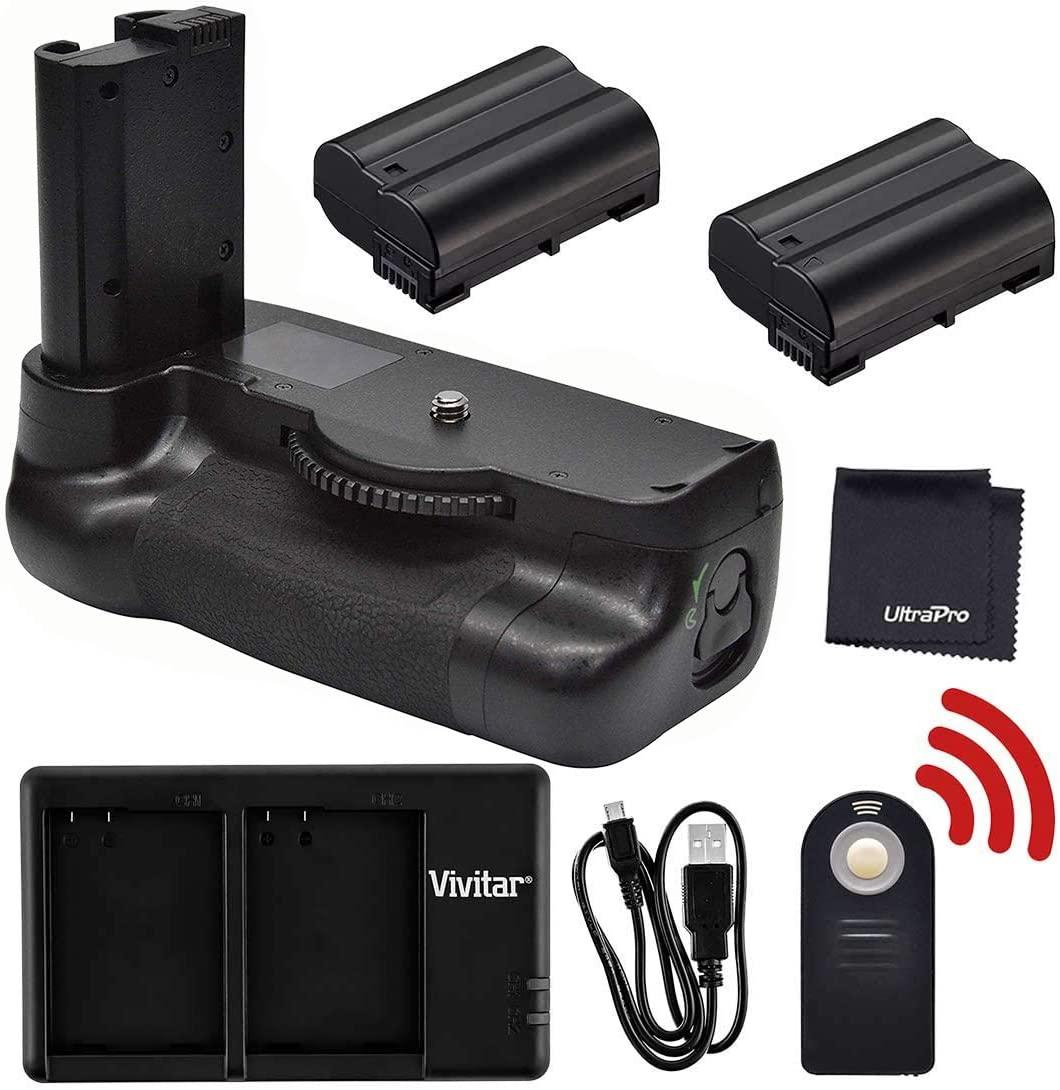 Battery Grip Bundle F/Nikon D7500: Includes MB-D18 Replacement Grip, 2-PK EN-EL15 Long-Life Battery, Rapid Dual Charger, UltraPro Accessory Bundle