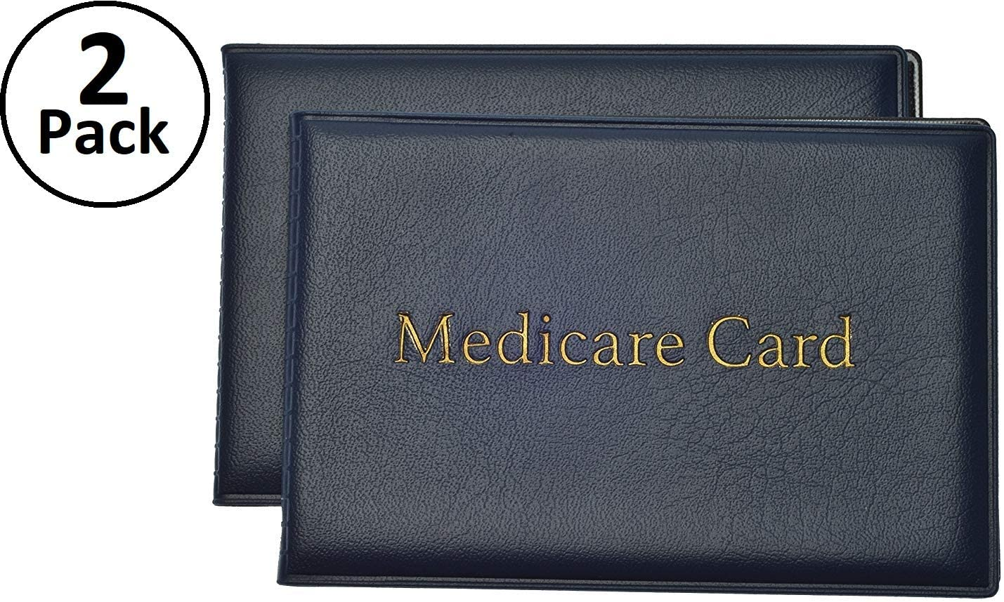 Medicare, Social Security Card Protector with 2 Clear Card Sleeves - Holds Medical Prescriptions, Social Security Card, Driver License, Health Insurance, ID, Credit Card Holders, Blue, 2 Pack